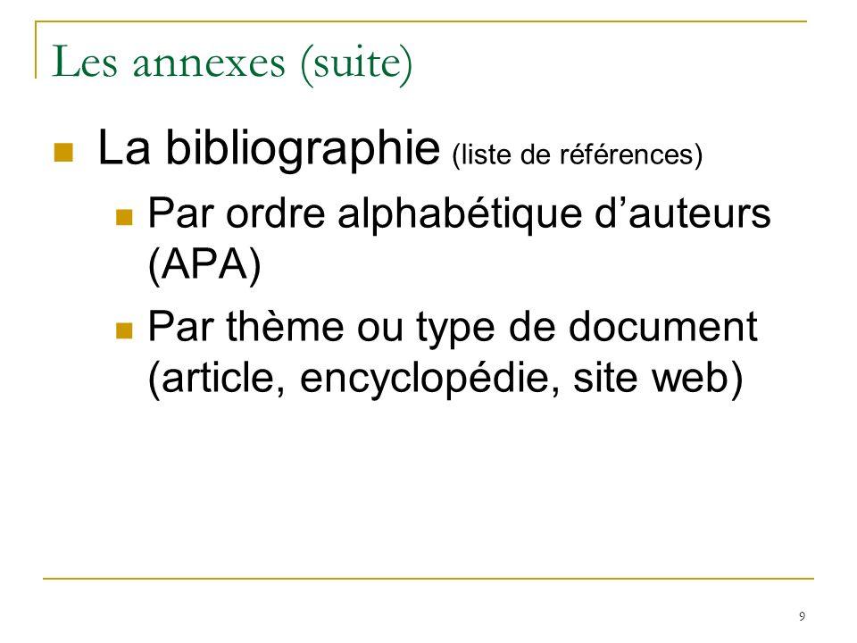 9 Les annexes (suite) La bibliographie (liste de références) Par ordre alphabétique dauteurs (APA) Par thème ou type de document (article, encyclopédi
