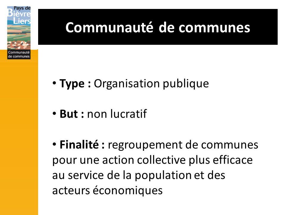 Communauté de communes Type : Organisation publique But : non lucratif Finalité : regroupement de communes pour une action collective plus efficace au