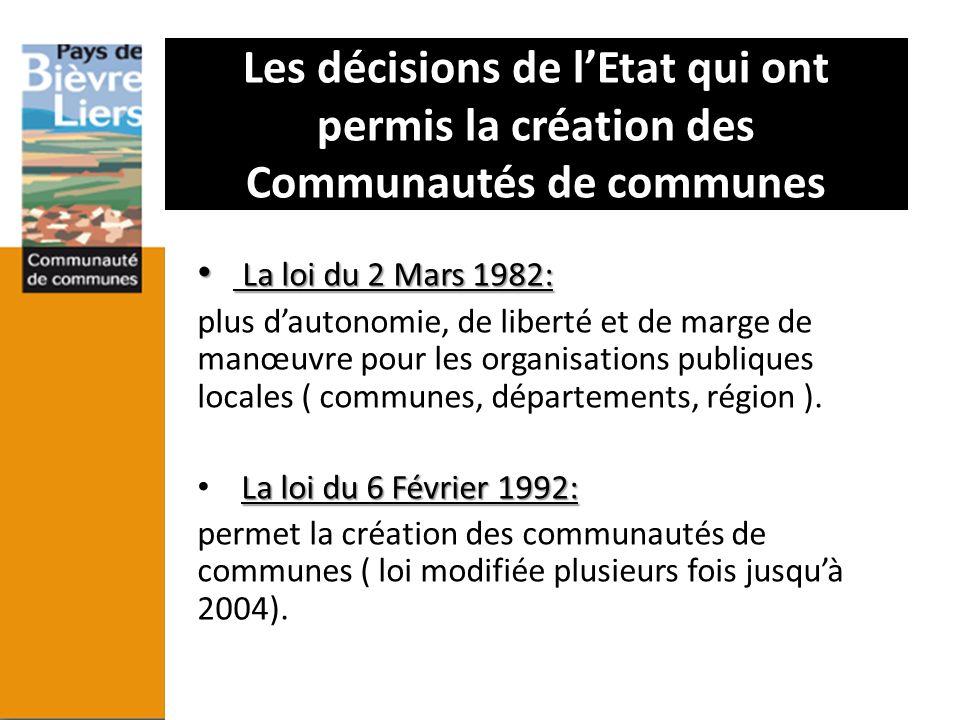 Les décisions de lEtat qui ont permis la création des Communautés de communes La loi du 2 Mars 1982: La loi du 2 Mars 1982: plus dautonomie, de libert