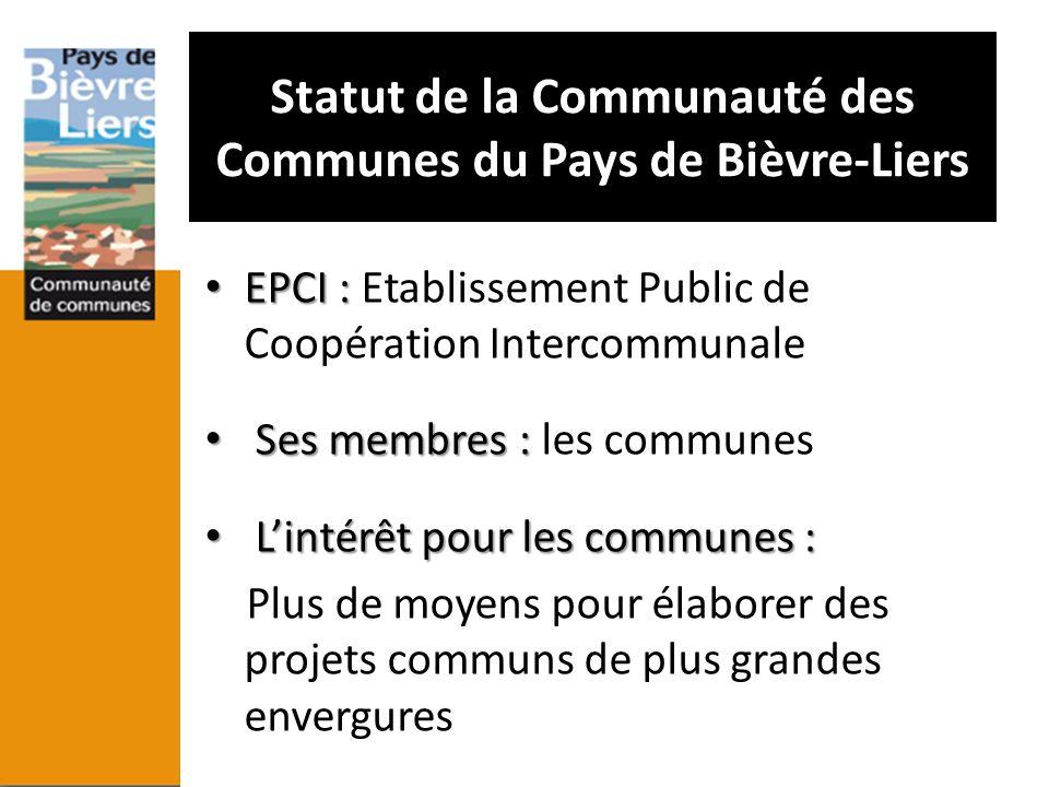 Statut de la Communauté des Communes du Pays de Bièvre-Liers EPCI : EPCI : Etablissement Public de Coopération Intercommunale Ses membres : Ses membre