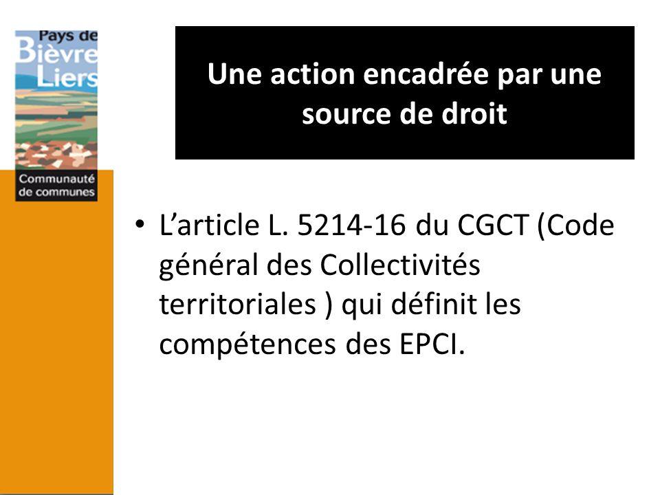 Une action encadrée par une source de droit Larticle L. 5214-16 du CGCT (Code général des Collectivités territoriales ) qui définit les compétences de