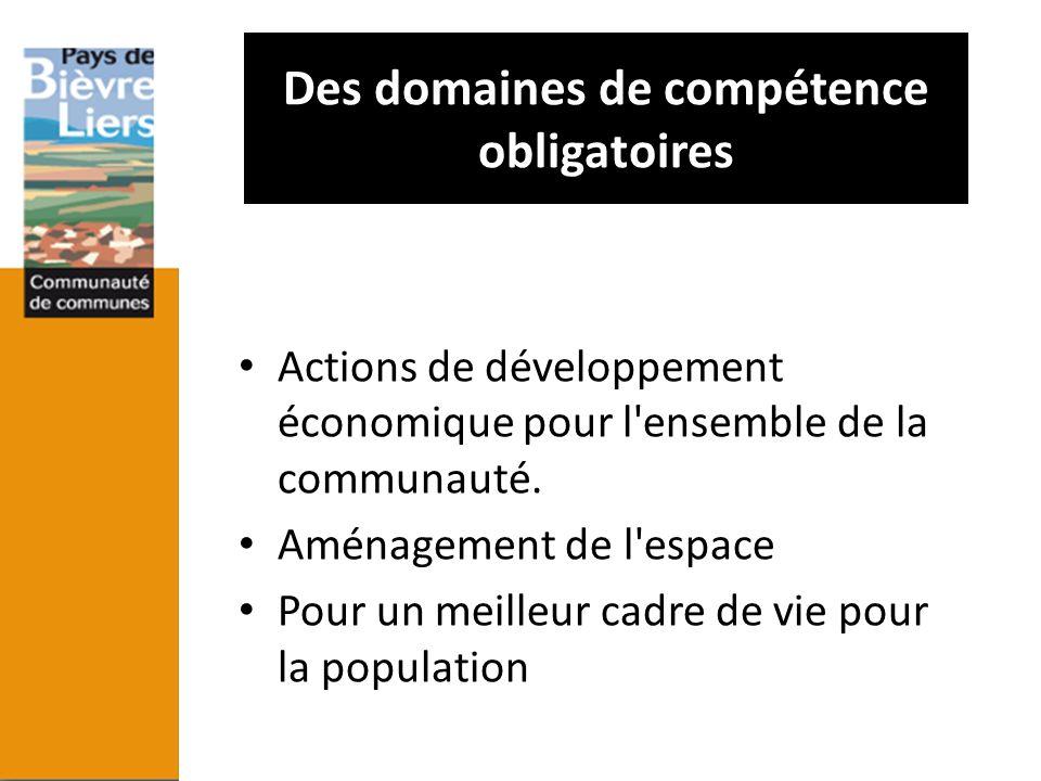 Des domaines de compétence obligatoires Actions de développement économique pour l'ensemble de la communauté. Aménagement de l'espace Pour un meilleur