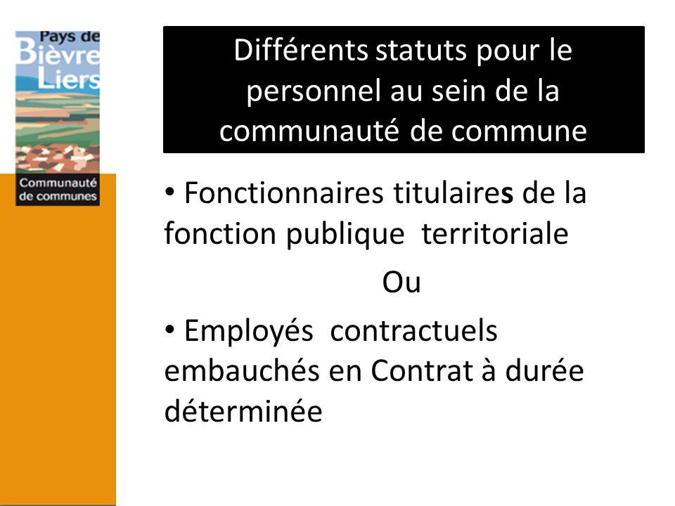 Effectif des personnes travaillant à la communauté de communes Fonctionnaires titulaires de la fonction publique territoriale Ou Employés contractuels