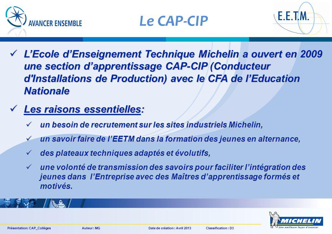 LEcole dEnseignement Technique Michelin a ouvert en 2009 une section dapprentissage CAP-CIP (Conducteur d'Installations de Production) avec le CFA de