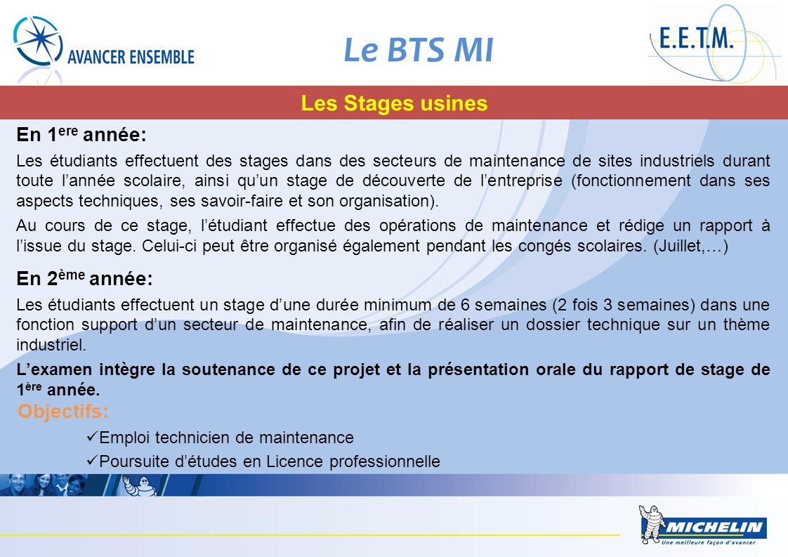 Le BTS MI Les Stages usines En 1 ere année: Les étudiants effectuent des stages dans des secteurs de maintenance de sites industriels durant toute lan