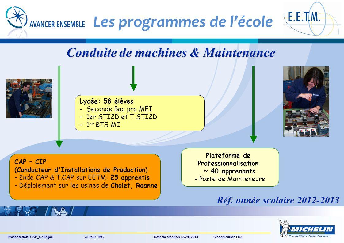 Lycée: 58 élèves - Seconde Bac pro MEI - 1er STI2D et T STI2D - 1 er BTS MI Plateforme de Professionnalisation ~ 40 apprenants - Poste de Mainteneurs