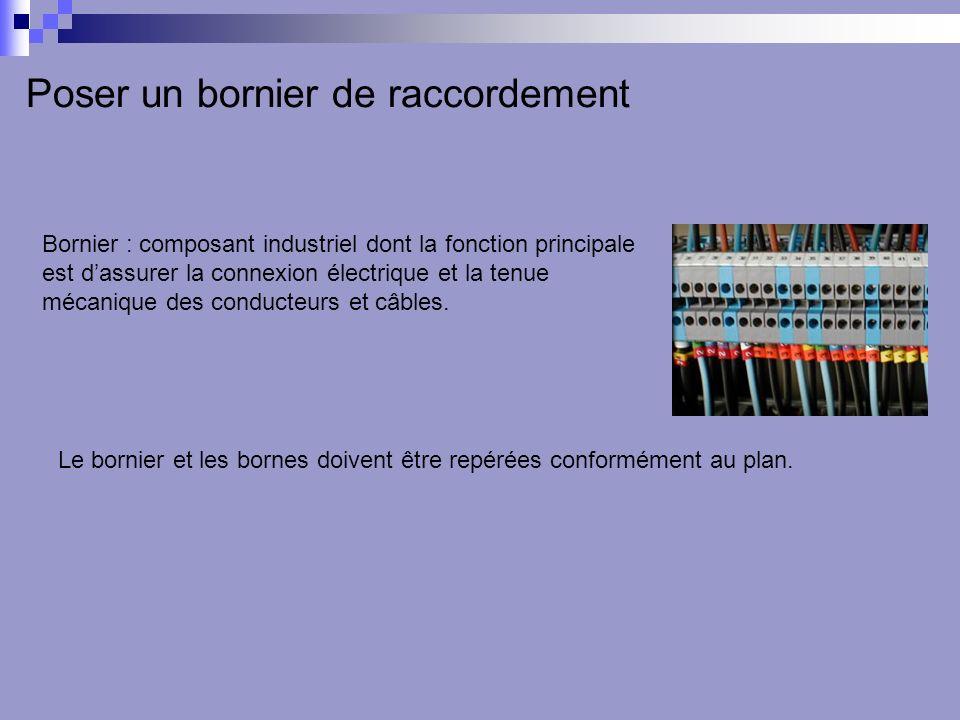 Poser un bornier de raccordement Bornier : composant industriel dont la fonction principale est dassurer la connexion électrique et la tenue mécanique des conducteurs et câbles.