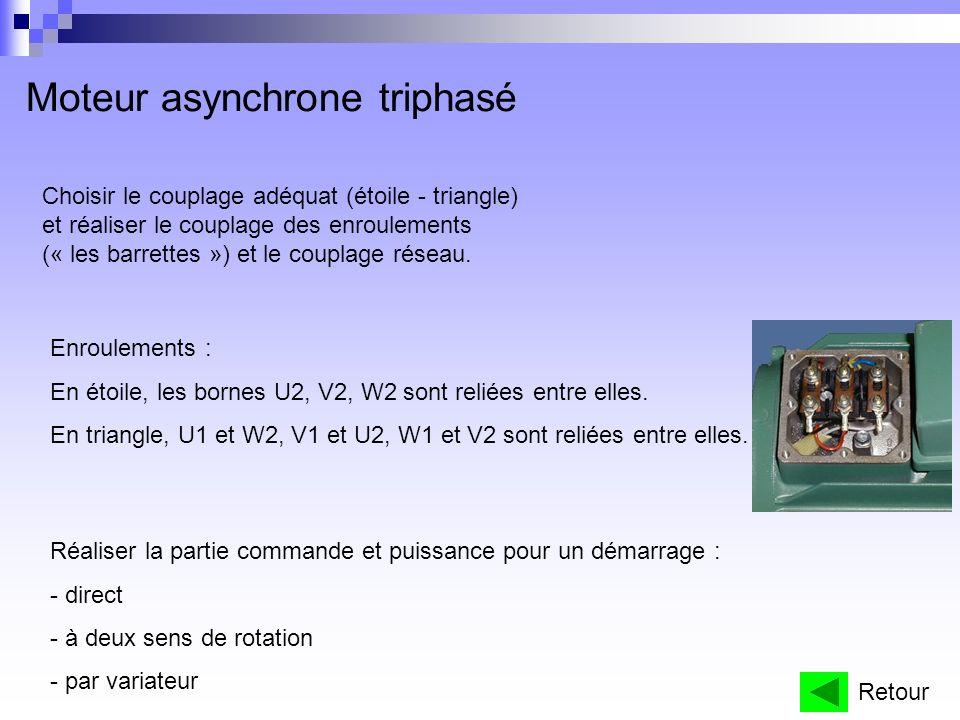 Moteur asynchrone triphasé Choisir le couplage adéquat (étoile - triangle) et réaliser le couplage des enroulements (« les barrettes ») et le couplage réseau.