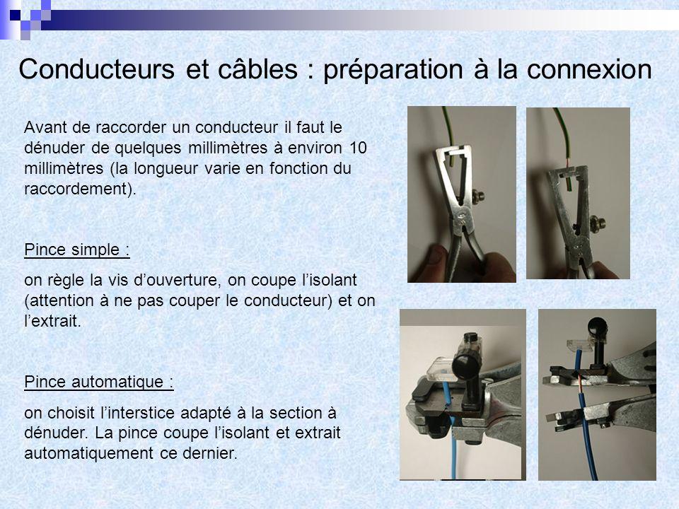 Conducteurs et câbles : préparation à la connexion Avant de raccorder un conducteur il faut le dénuder de quelques millimètres à environ 10 millimètres (la longueur varie en fonction du raccordement).