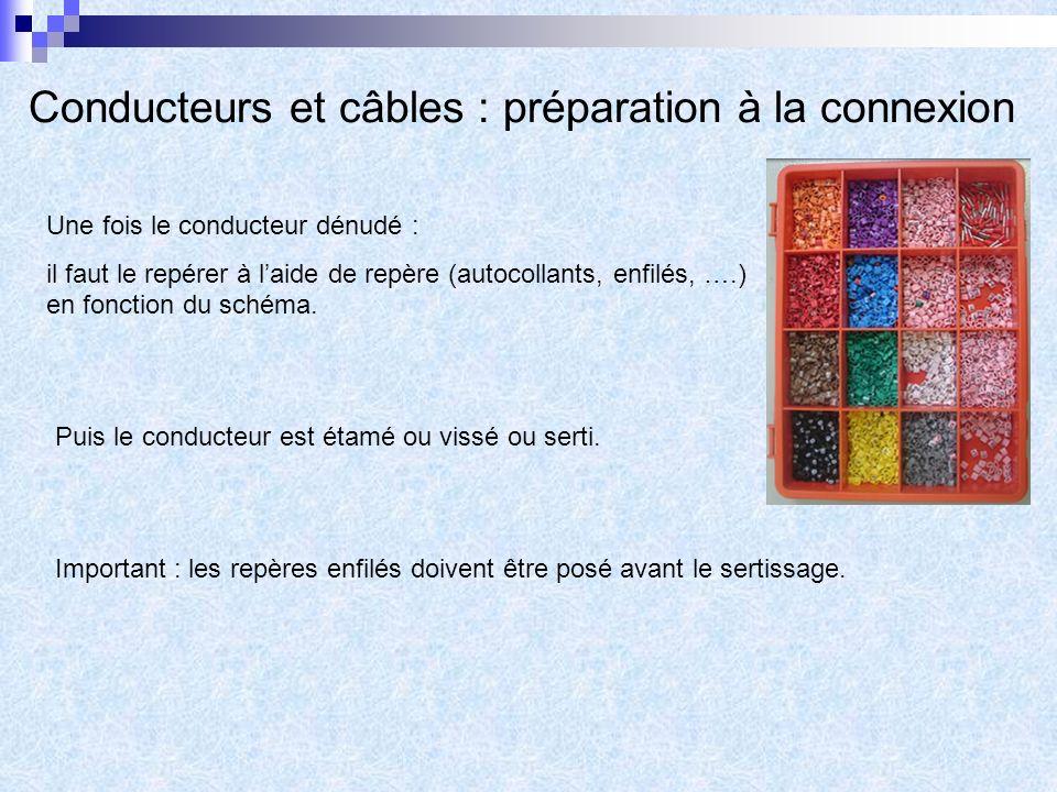 Conducteurs et câbles : préparation à la connexion Une fois le conducteur dénudé : il faut le repérer à laide de repère (autocollants, enfilés, ….) en fonction du schéma.