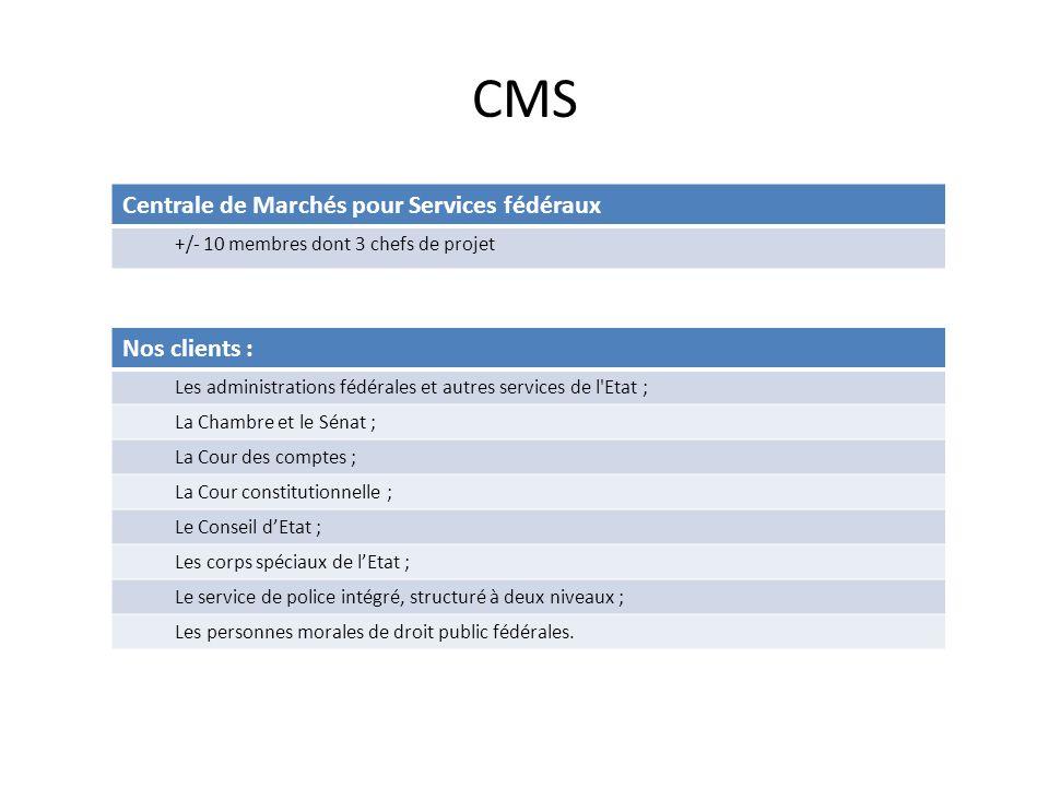 CMS Centrale de Marchés pour Services fédéraux +/- 10 membres dont 3 chefs de projet Nos clients : Les administrations fédérales et autres services de