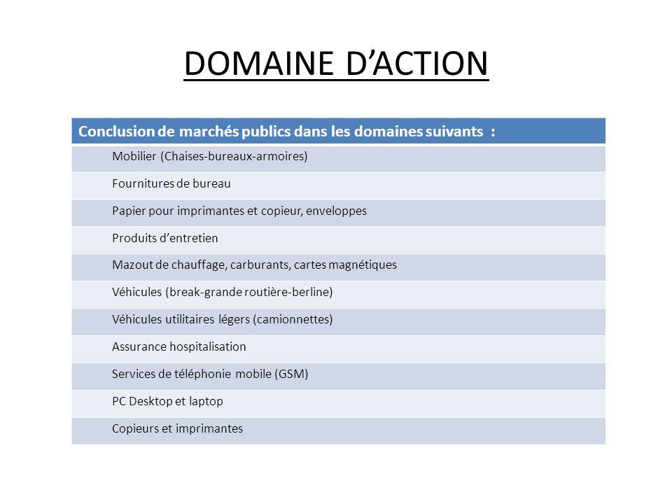 DOMAINE DACTION Conclusion de marchés publics dans les domaines suivants : Mobilier (Chaises-bureaux-armoires) Fournitures de bureau Papier pour impri