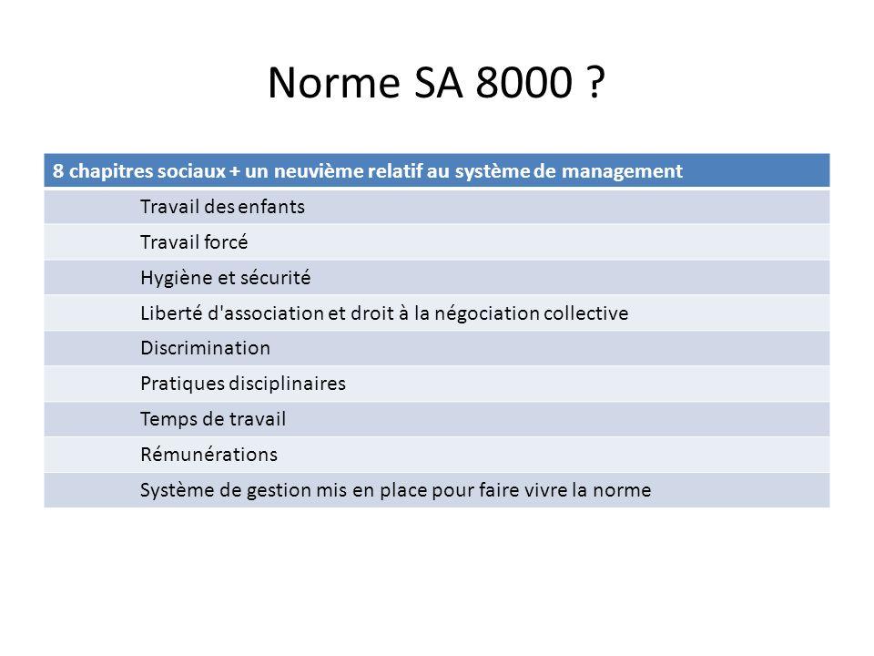 Norme SA 8000 ? 8 chapitres sociaux + un neuvième relatif au système de management Travail des enfants Travail forcé Hygiène et sécurité Liberté d'ass