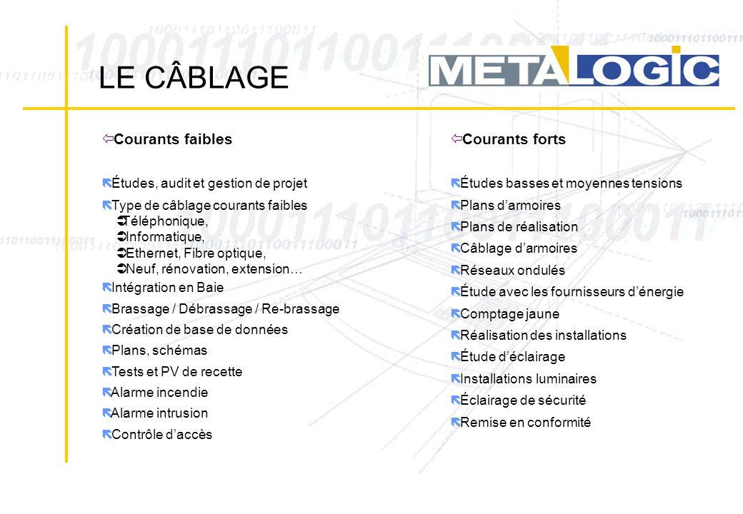 ë Études, audit et gestion de projet ë Type de câblage courants faibles Téléphonique, Informatique, Ethernet, Fibre optique, Neuf, rénovation, extensi