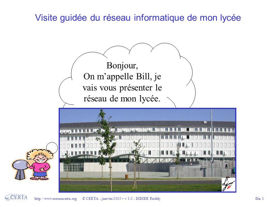 http://www.reseaucerta.org © CERTA - janvier 2005 – v 1.0 - DIDIER FreddyDia 1 Visite guidée du réseau informatique de mon lycée Bonjour, On mappelle Bill, je vais vous présenter le réseau de mon lycée.
