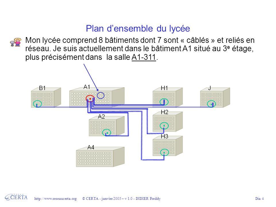 http://www.reseaucerta.org © CERTA - janvier 2005 – v 1.0 - DIDIER FreddyDia 4 Plan densemble du lycée Mon lycée comprend 8 bâtiments dont 7 sont « câblés » et reliés en réseau.