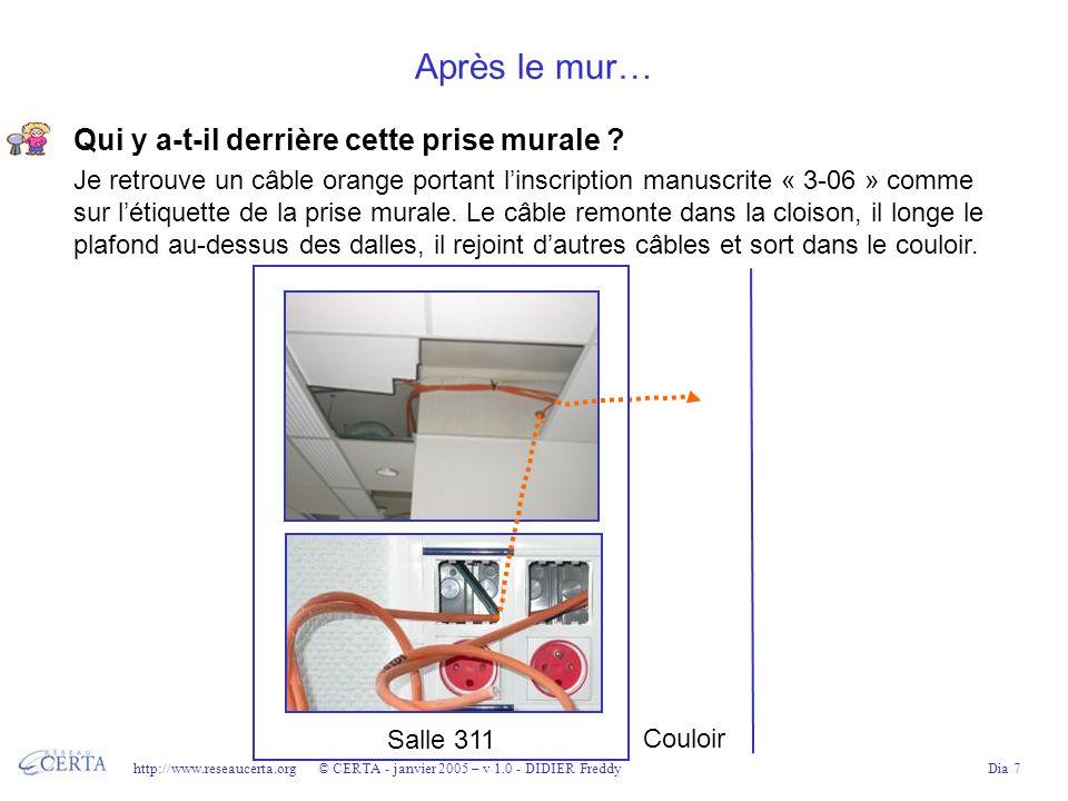 http://www.reseaucerta.org © CERTA - janvier 2005 – v 1.0 - DIDIER FreddyDia 8 Dans le couloir du 3 ème étage… Le câble se trouve dans le faux plafond du couloir.