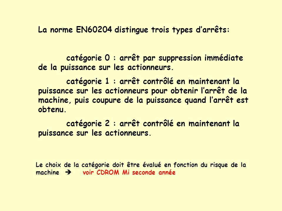 La norme EN60204 distingue trois types darrêts: catégorie 0 : arrêt par suppression immédiate de la puissance sur les actionneurs. catégorie 1 : arrêt