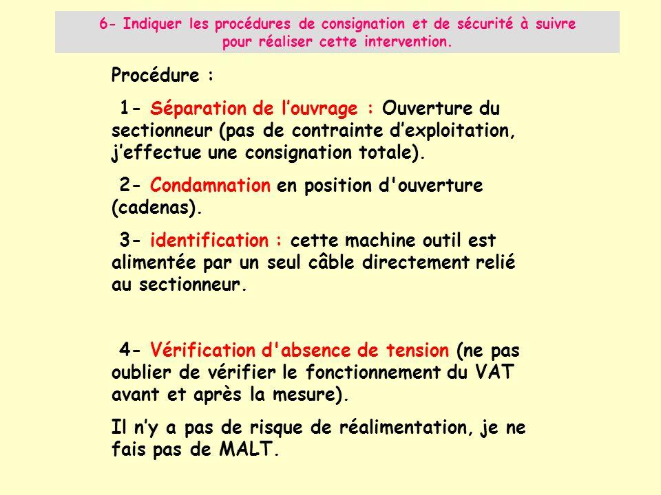 Procédure : 1- Séparation de louvrage : Ouverture du sectionneur (pas de contrainte dexploitation, jeffectue une consignation totale). 2- Condamnation