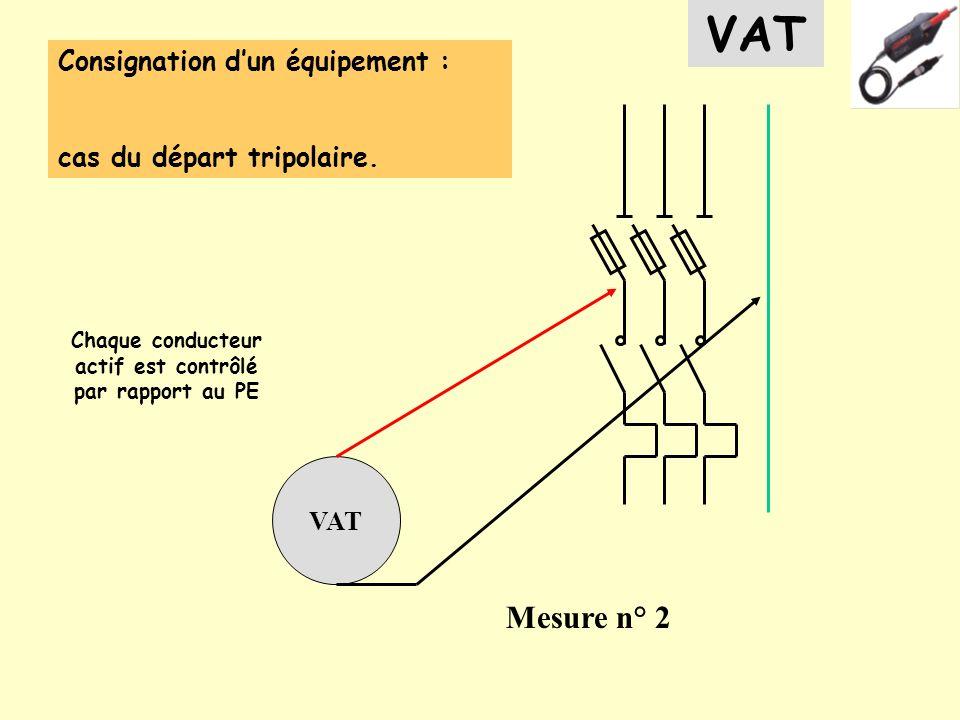 Consignation dun équipement : cas du départ tripolaire. VAT Mesure n° 2 VAT Chaque conducteur actif est contrôlé par rapport au PE