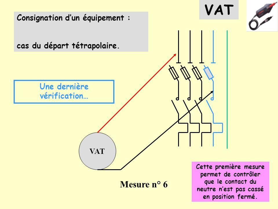 Consignation dun équipement : cas du départ tétrapolaire. VAT Mesure n° 6 Une dernière vérification… VAT Cette première mesure permet de contrôler que