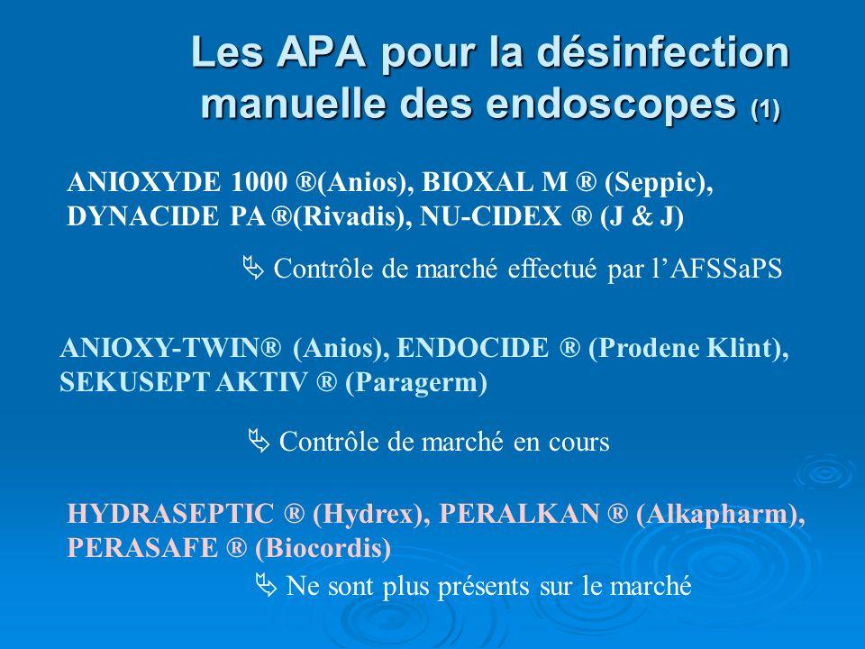Les APA pour la désinfection manuelle des endoscopes (1) ANIOXYDE 1000 ®(Anios), BIOXAL M ® (Seppic), DYNACIDE PA ®(Rivadis), NU-CIDEX ® (J J) ANIOXY-TWIN® (Anios), ENDOCIDE ® (Prodene Klint), SEKUSEPT AKTIV ® (Paragerm) HYDRASEPTIC ® (Hydrex), PERALKAN ® (Alkapharm), PERASAFE ® (Biocordis) Contrôle de marché effectué par lAFSSaPS Ne sont plus présents sur le marché Contrôle de marché en cours