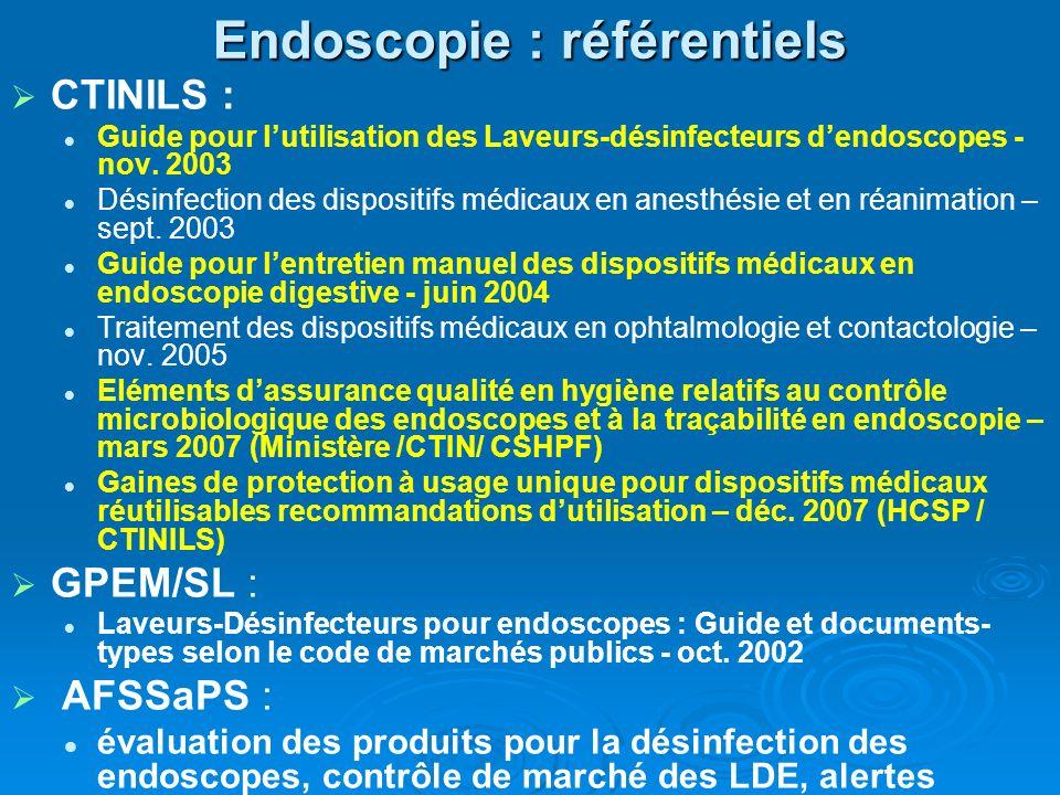 Endoscopie : référentiels CTINILS : Guide pour lutilisation des Laveurs-désinfecteurs dendoscopes - nov.