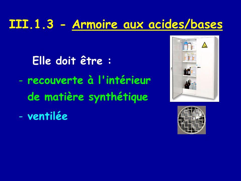 III.1.3 - Armoire aux acides/bases Elle doit être : -recouverte à l'intérieur de matière synthétique -ventilée