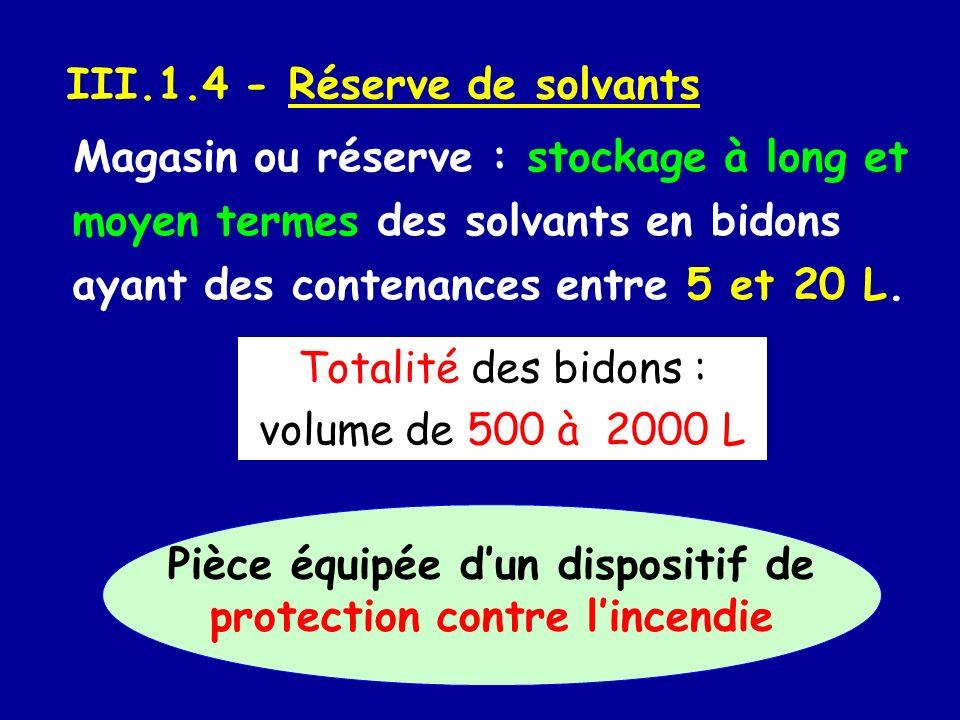 III.1.4 - Réserve de solvants Magasin ou réserve : stockage à long et moyen termes des solvants en bidons ayant des contenances entre 5 et 20 L. Total