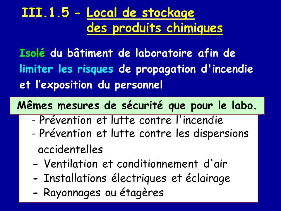 III.1.5 - Local de stockage des produits chimiques - Prévention et lutte contre l'incendie - Prévention et lutte contre les dispersions accidentelles