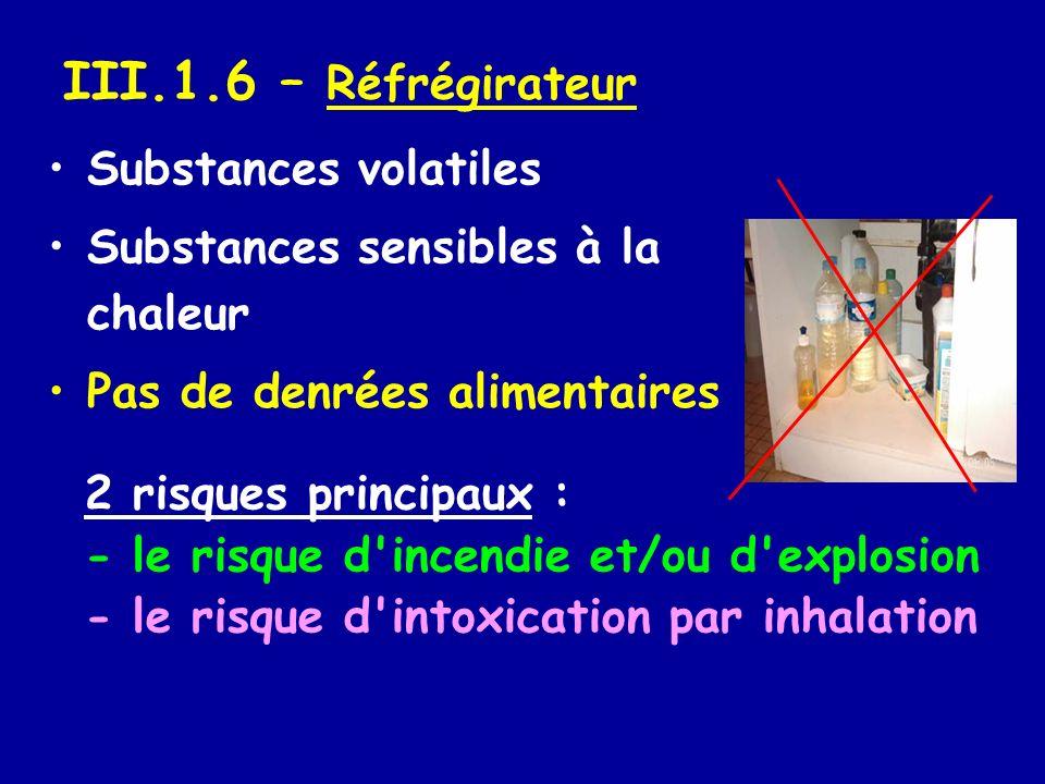 III.1.6 – Réfrégirateur Substances volatiles Substances sensibles à la chaleur Pas de denrées alimentaires 2 risques principaux : - le risque d'incend