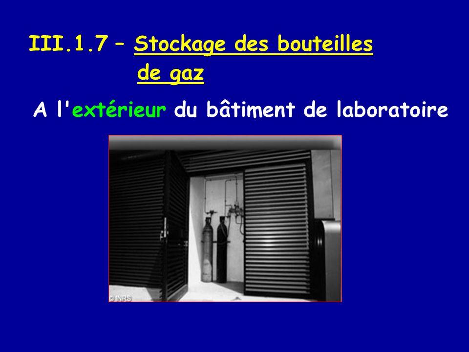 III.1.7 – Stockage des bouteilles de gaz A l'extérieur du bâtiment de laboratoire