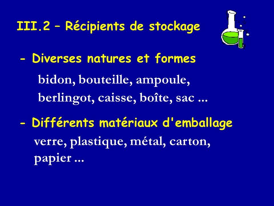 III.2 – Récipients de stockage - Diverses natures et formes bidon, bouteille, ampoule, berlingot, caisse, boîte, sac... - Différents matériaux d'embal
