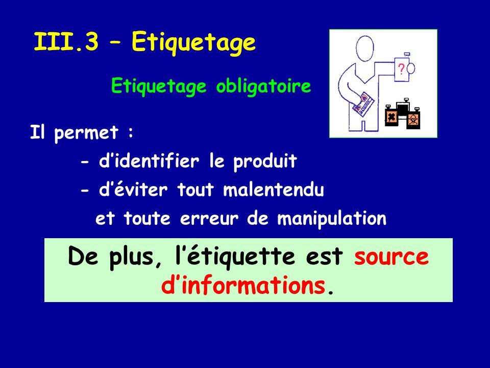 III.3 – Etiquetage Il permet : - didentifier le produit - déviter tout malentendu et toute erreur de manipulation Etiquetage obligatoire De plus, léti