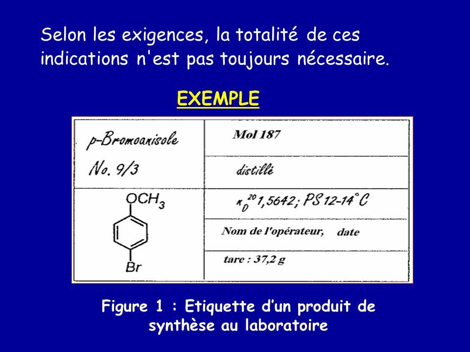 EXEMPLE Figure 1 : Etiquette dun produit de synthèse au laboratoire Selon les exigences, la totalité de ces indications n'est pas toujours nécessaire.
