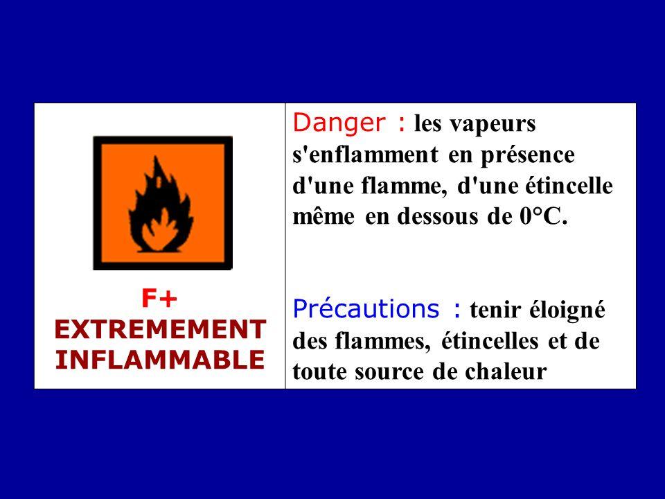 F+ EXTREMEMENT INFLAMMABLE Danger : les vapeurs s'enflamment en présence d'une flamme, d'une étincelle même en dessous de 0°C. Précautions : tenir élo
