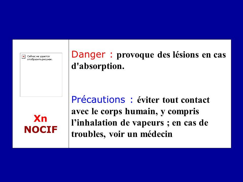Xn NOCIF Danger : provoque des lésions en cas d'absorption. Précautions : éviter tout contact avec le corps humain, y compris linhalation de vapeurs ;