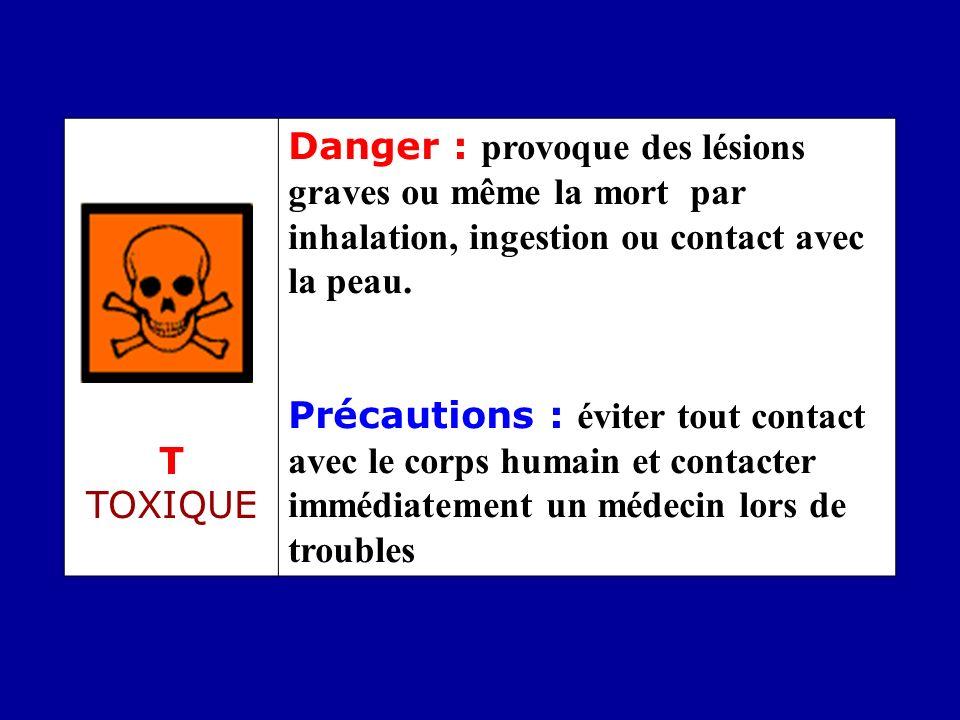 T TOXIQUE Danger : provoque des lésions graves ou même la mort par inhalation, ingestion ou contact avec la peau. Précautions : éviter tout contact av