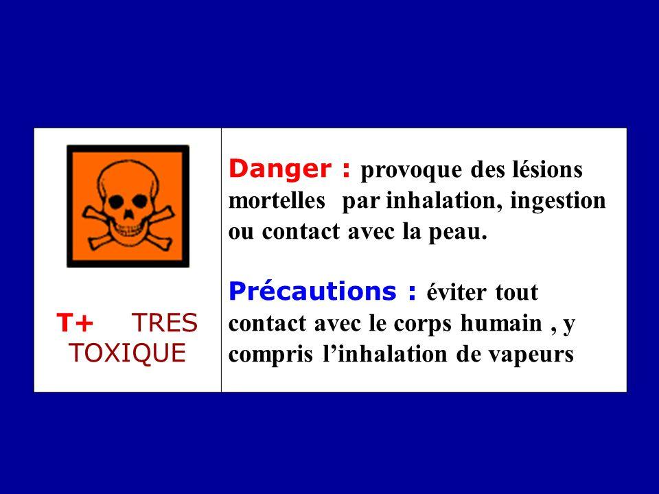 T+ TRES TOXIQUE Danger : provoque des lésions mortelles par inhalation, ingestion ou contact avec la peau. Précautions : éviter tout contact avec le c