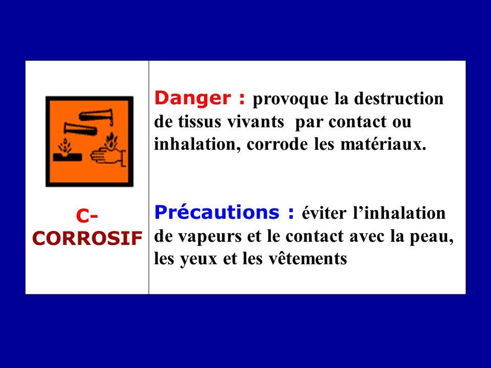 C- CORROSIF Danger : provoque la destruction de tissus vivants par contact ou inhalation, corrode les matériaux. Précautions : éviter linhalation de v