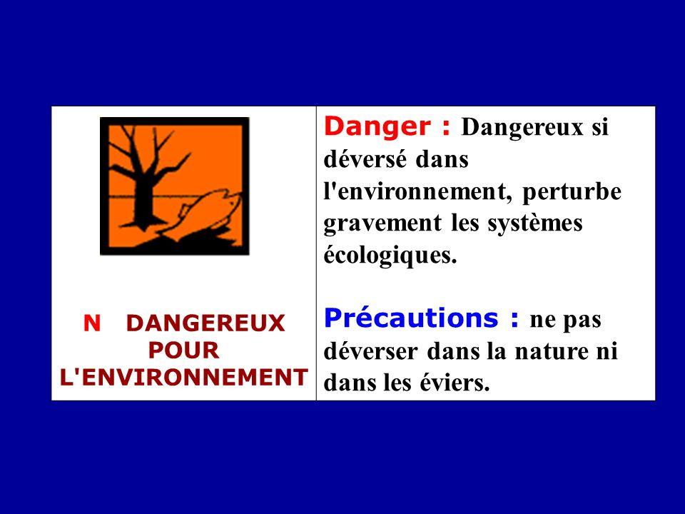 N DANGEREUX POUR L'ENVIRONNEMENT Danger : Dangereux si déversé dans l'environnement, perturbe gravement les systèmes écologiques. Précautions : ne pas