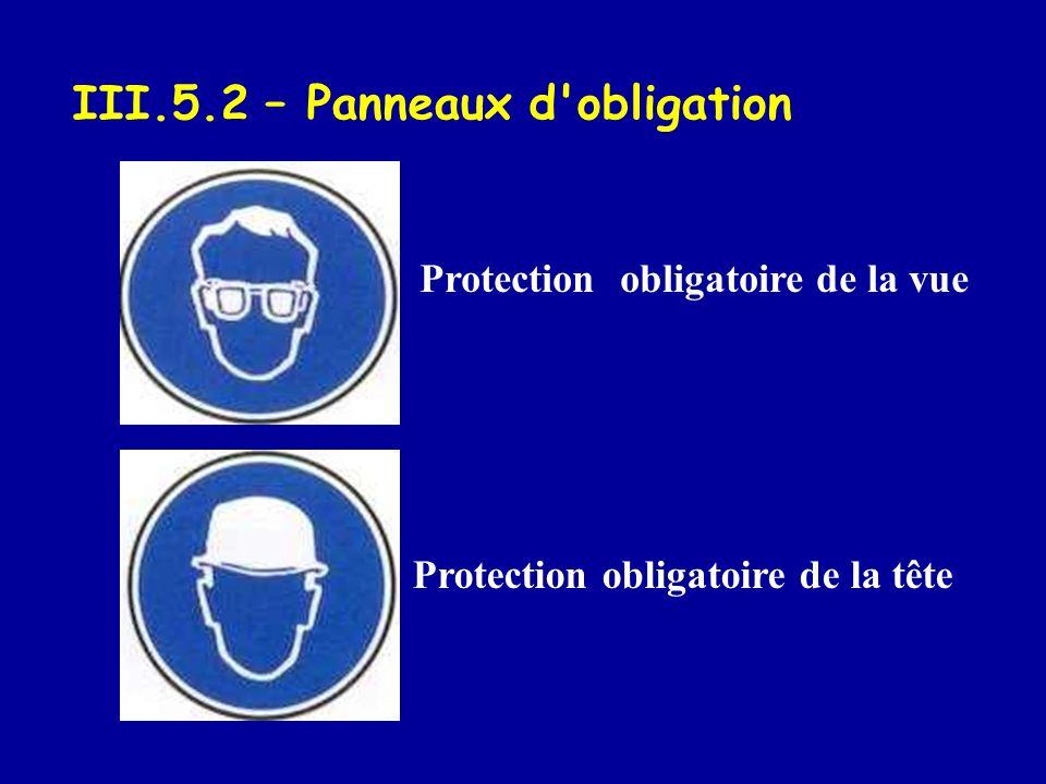 Protection obligatoire de la vue Protection obligatoire de la tête III.5.2 – Panneaux d'obligation