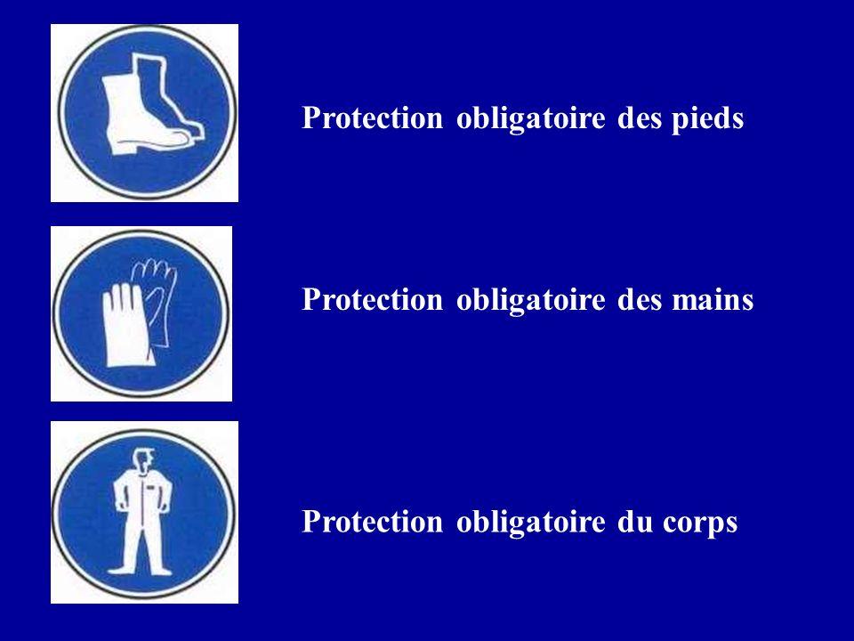 Protection obligatoire des pieds Protection obligatoire des mains Protection obligatoire du corps