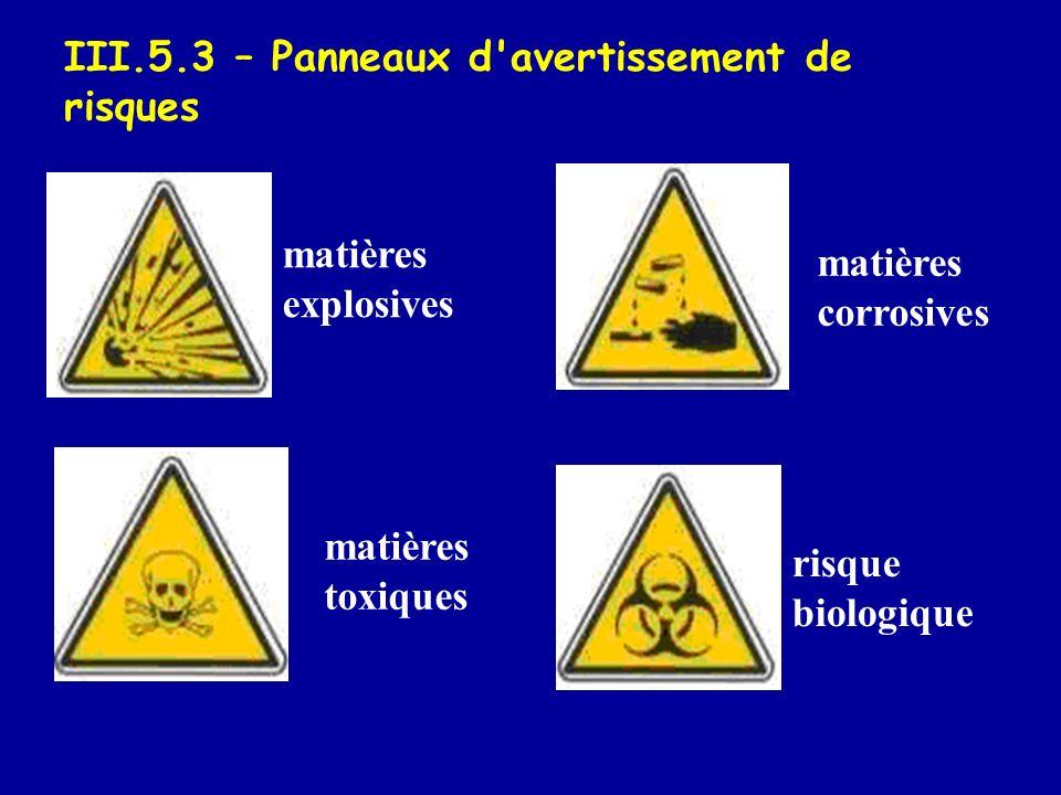 III.5.3 – Panneaux d'avertissement de risques matières explosives matières toxiques matières corrosives risque biologique