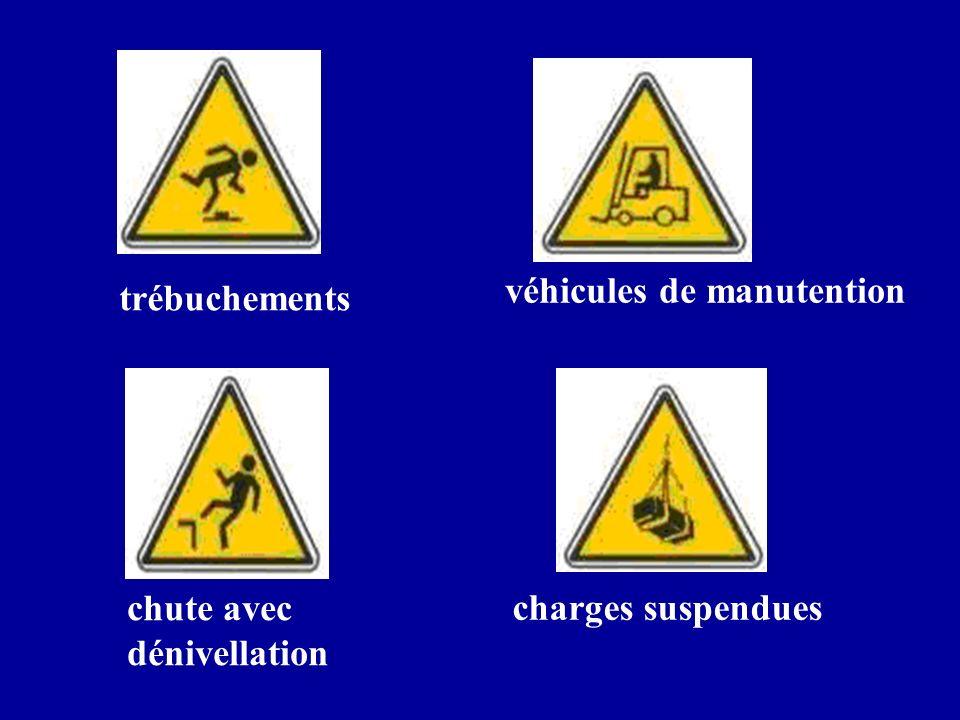 trébuchements chute avec dénivellation véhicules de manutention charges suspendues