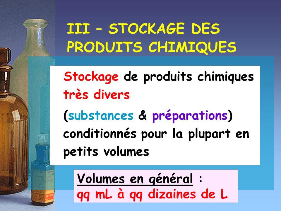 Stockage de produits chimiques très divers (substances & préparations) conditionnés pour la plupart en petits volumes III – STOCKAGE DES PRODUITS CHIM