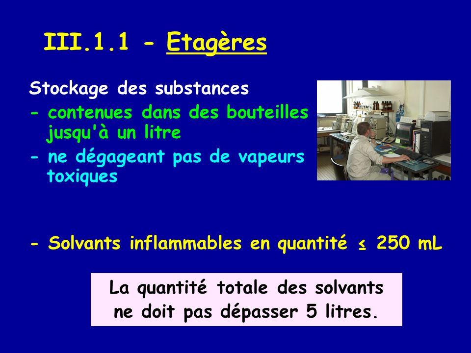 III.1.2 - Armoire à solvants - stockage, dans le laboratoire, des bidons des solvants d une contenance de 1 à 5 L La quantité totale ne doit pas dépasser 50 L.
