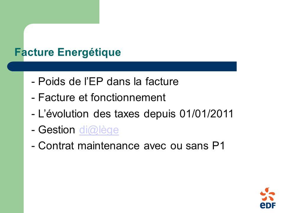 Facture Energétique - Poids de lEP dans la facture - Facture et fonctionnement - Lévolution des taxes depuis 01/01/2011 - Gestion di@lègedi@lège - Contrat maintenance avec ou sans P1
