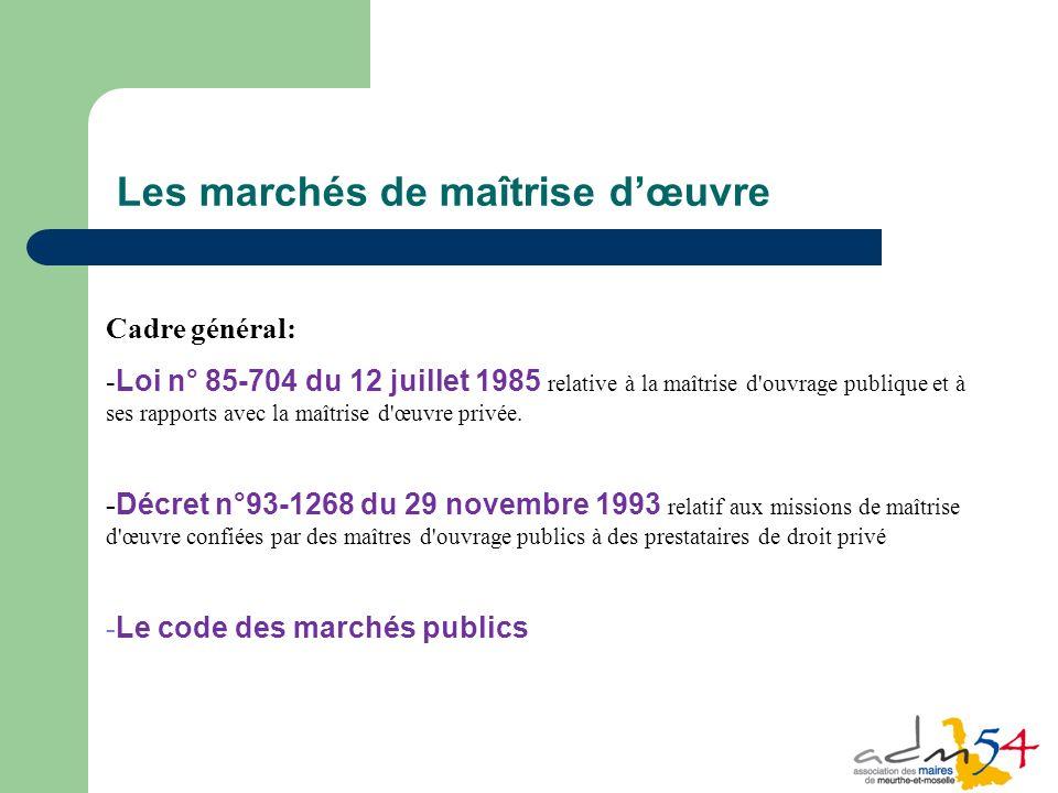 38 Cadre général: - Loi n° 85-704 du 12 juillet 1985 relative à la maîtrise d ouvrage publique et à ses rapports avec la maîtrise d œuvre privée.