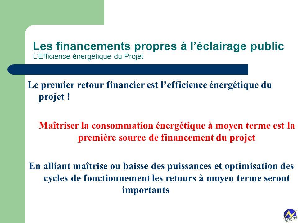 Les financements propres à léclairage public LEfficience énergétique du Projet Le premier retour financier est lefficience énergétique du projet .
